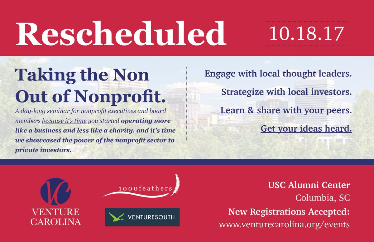 The #NonprofitVenture conference has been rescheduled for 10/18, which means you still have time to register! #nonprofit #entreprenur<br>http://pic.twitter.com/vttIJ9NWKQ