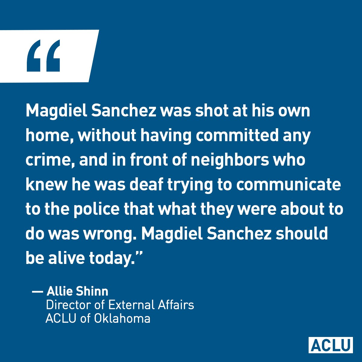 Police shouted commands at Magdiel Sanchez. He was deaf and couldn't hear them. An officer shot him dead. It's time for #policereform.