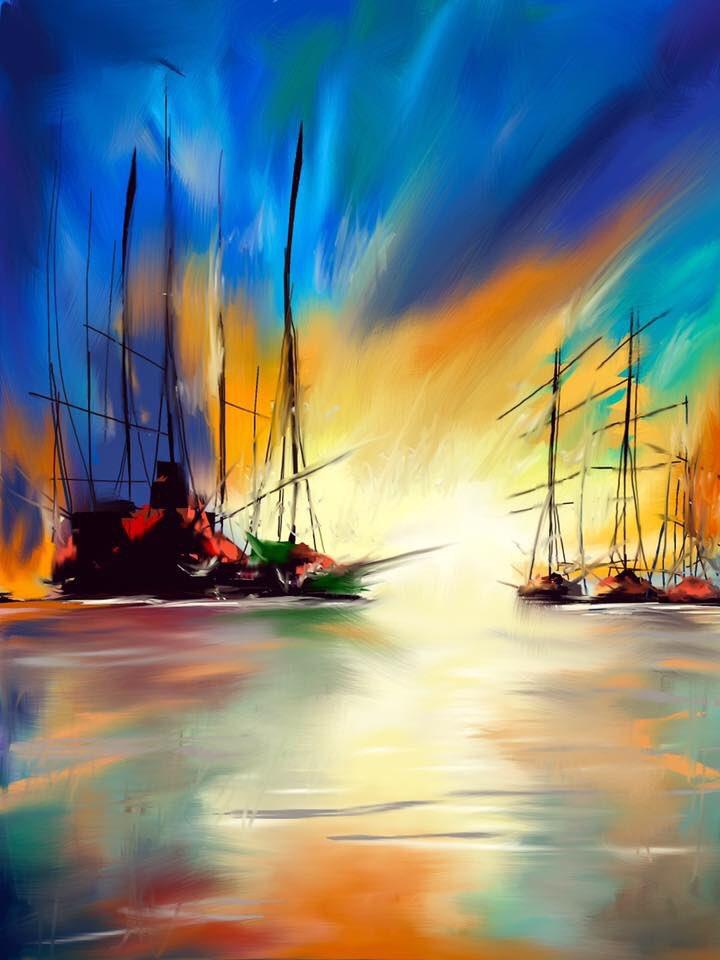 New:  On a Calm Harbour. mixed media 16x23&quot; #seascape #contemporaryart #PiratesLife #romantic @CreuArtsCrafts @Welsh_art @ArtandArtyThing<br>http://pic.twitter.com/7tCVa2L2Sb