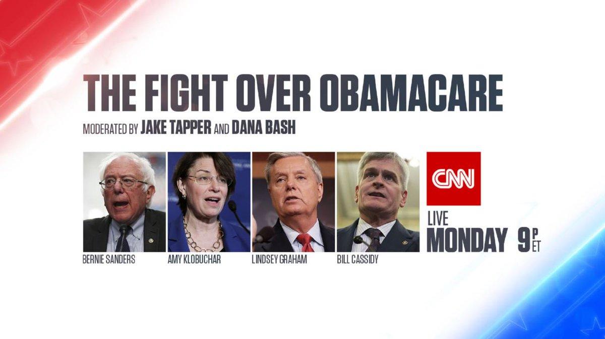 JUST IN: Sens. Graham & Cassidy will debate Sens. Sanders & Klobuchar on health care in live CNN event, Monday 9p ET https://t.co/eLye3JeX4n