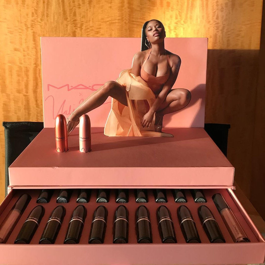 Congrats to @NICKIMINAJ on her North American release of her MAC lipsticks!