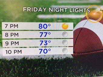 Warm for Friday Night Lights! Good luck, especially @PRRamsFootball @CoachKasper