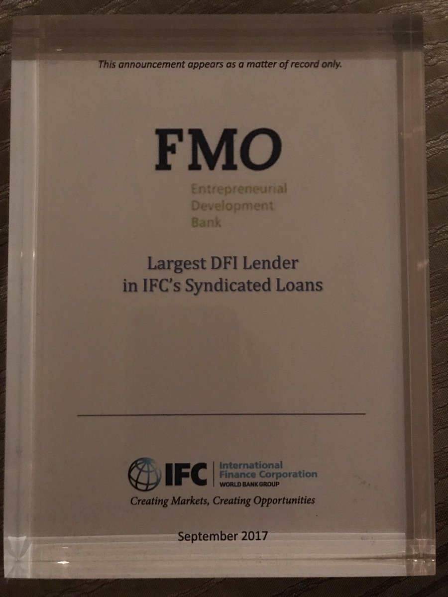 FMO received award as IFC&#39;s largest DFI lender in syndicated loans #GlobalDebtMobilization Conference #EmergingMarkets @FMO_development<br>http://pic.twitter.com/aJpehrr1IQ