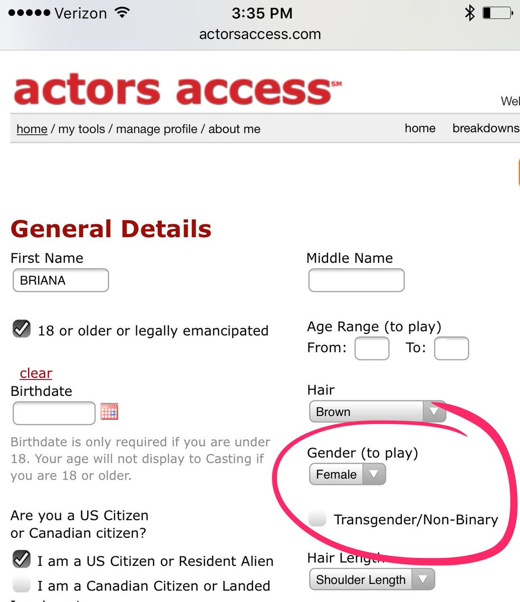 Just noticed that @ActorsAccess now has an option for transgender/non-binary actors. Good on ya, AA. #representationmatters #equality <br>http://pic.twitter.com/zfWDdQgY4A
