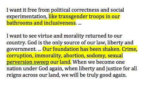 Here's Roy Moore in tonight's #ALSen debate bashing transgender troops, inclusiveness, saying sodomy and sexual perversion 'sweep our land':