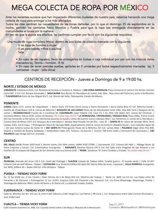 81f402e215 Sismo Colecta Aquí Del Cruz Damnificados On Linda Ropa Twitter De Favor La  Para Los Por ...