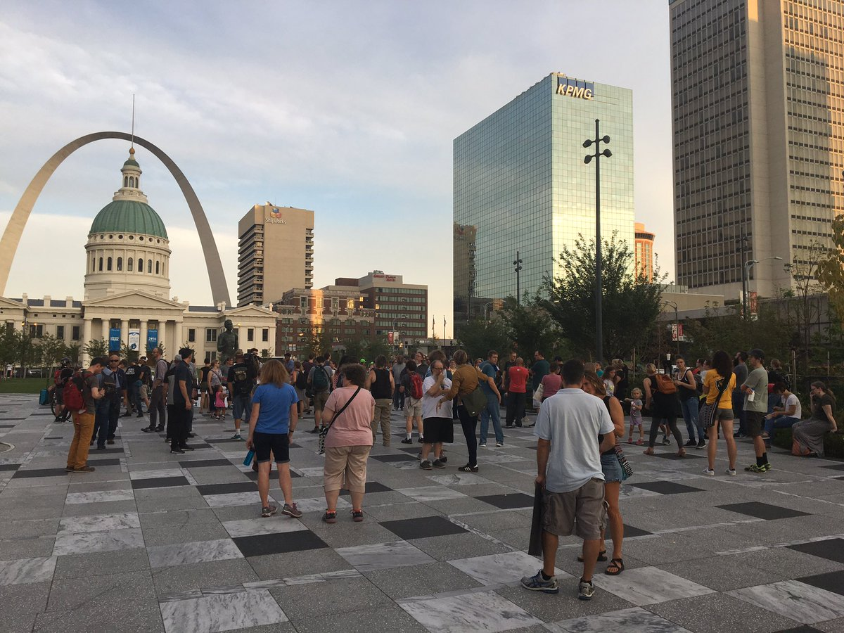 Crowd of #BlackLivesMatter  allies gathering at Kiener Plaza in downtown #STL. Here&#39;s the littlest #BLM supporter I saw. #STLVerdict @KMOV<br>http://pic.twitter.com/5fwwFdf2tc