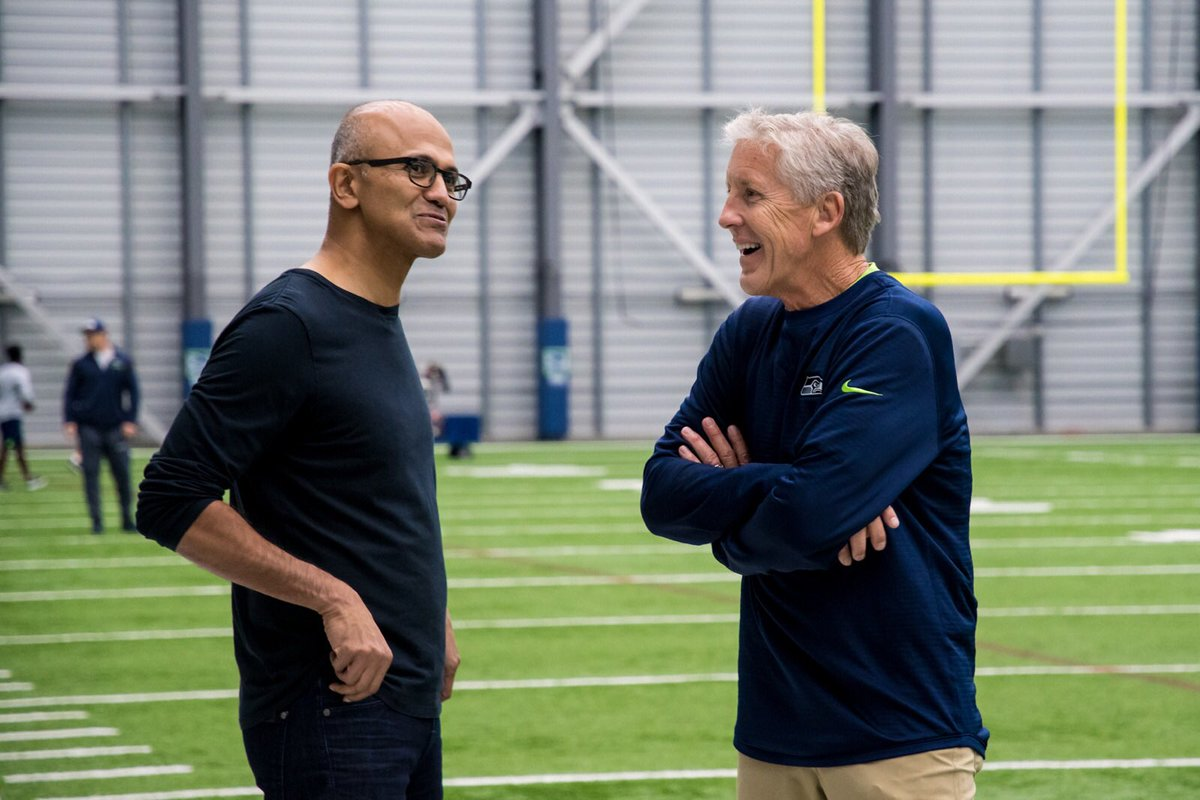 Loved having @satyanadella with us at practice today! Truly an inspirational leader! Pumped for his book #HitRefresh to come out on Monday!
