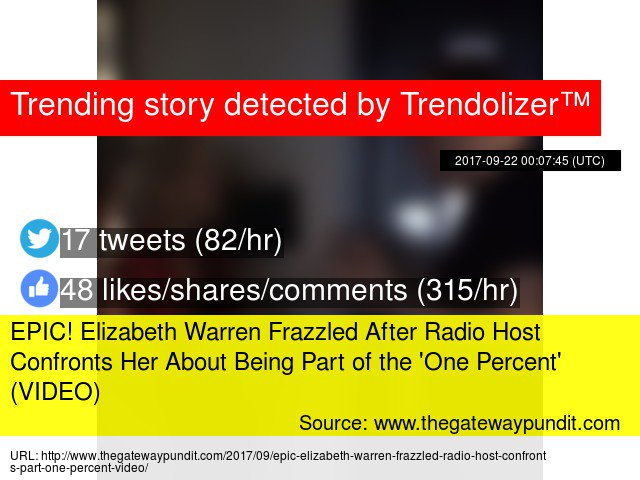 EPIC! #ElizabethWarren Frazzled After Radio Host Confronts Her About Being Part of the &#39;One Percent&#39;...  http:// warren.trendolizer.com/2017/09/epic-e lizabeth-warren-frazzled-after-radio-host-confronts-her-about-being-part-of-the-one-percent-vi.html &nbsp; … <br>http://pic.twitter.com/XBdL6l9KNF
