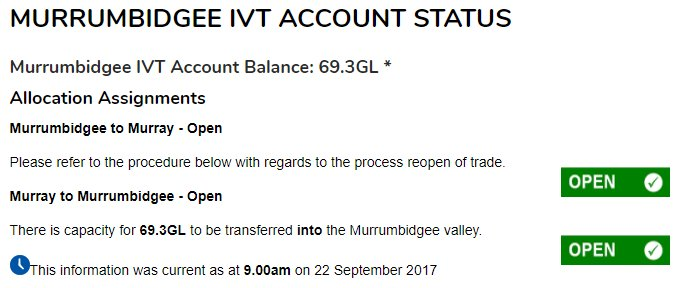 #IVT shows more water moving up into the #Bidgee @H2OX_News @aithernews @MJAwater @Nat_Irrigators @progressiveagri @Jeremy_Morton_<br>http://pic.twitter.com/phGqeAyHSm