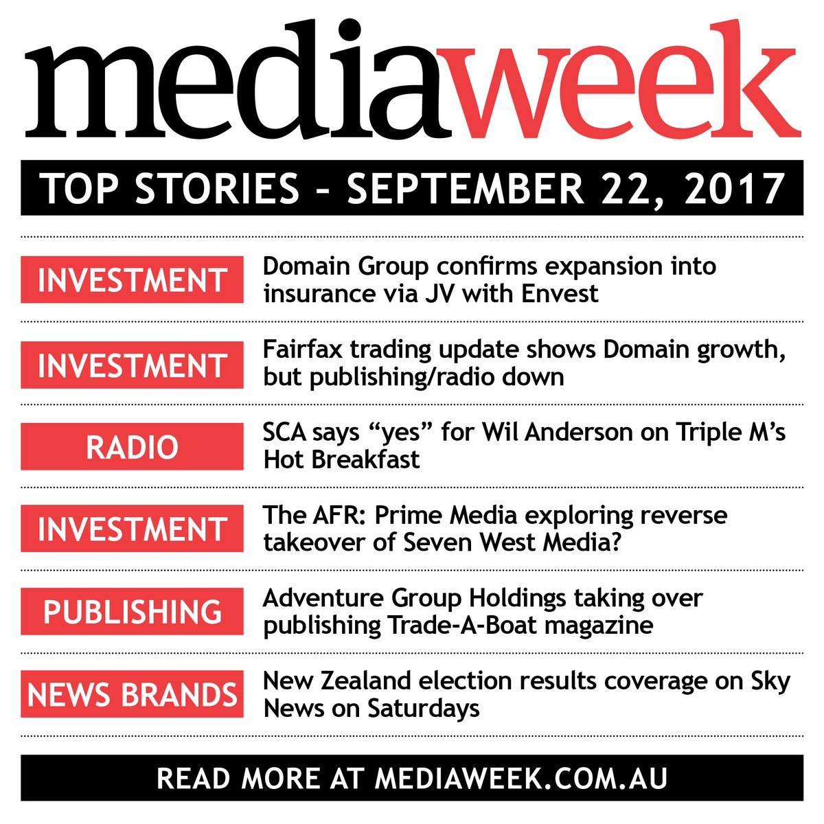 Today's top stories in media.  More on the Mediaweek Morning Report here: https://t.co/9NVLSVtICs   #ausmedia