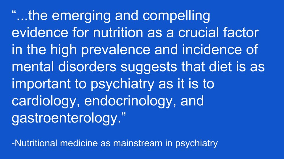 Recognition of #diet &amp; #nutrition as central determinants of physical and mental #health.   http://www. thelancet.com/journals/lanps y/article/PIIS2215-0366(14)00051-0/abstract &nbsp; … <br>http://pic.twitter.com/zhE3R6mfAy