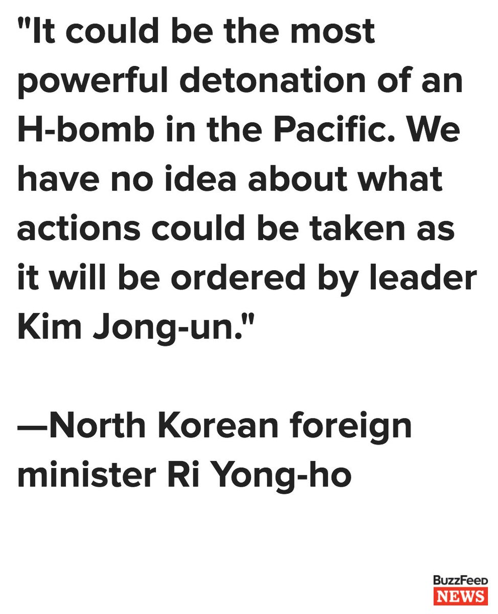 North Korea's foreign minister says Kim Jong Un's retaliation could mean a hydrogen bomb test in the Pacific Oceahttps://t.co/PfI1NvfaeVn