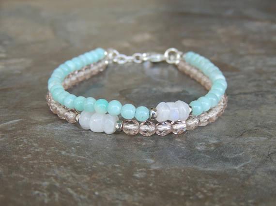 Amazonite Bracelet, Layered Bracelet, Light Blue Bracelet for Women, Gemstone…  http:// dlvr.it/Ppcd6G  &nbsp;   #etsyclub #etsychaching #epiconetsy<br>http://pic.twitter.com/DhQ1xrsgGq