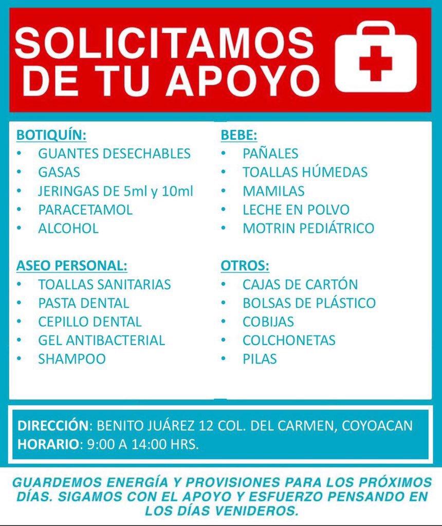 En Coyoacán este centro de acopio estará llevando toda ayuda a #Morelos por favor compartan