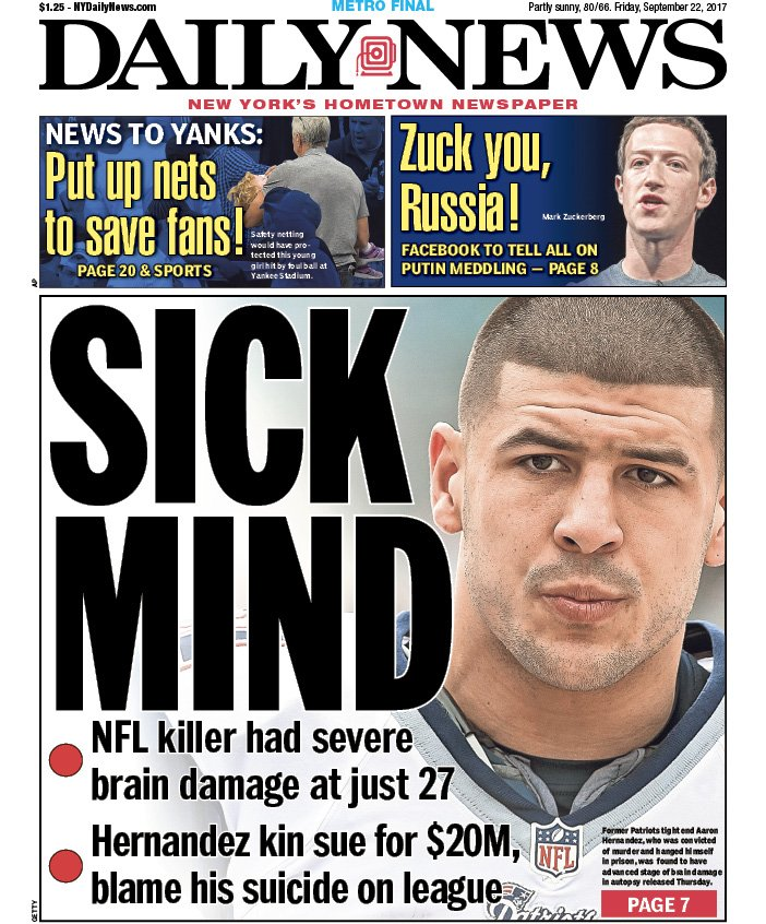 Aaron Hernandez had 'most severe case' of CTE doctors have seen in player his age  An early look at Friday's front: https://t.co/wFESqbdb7B
