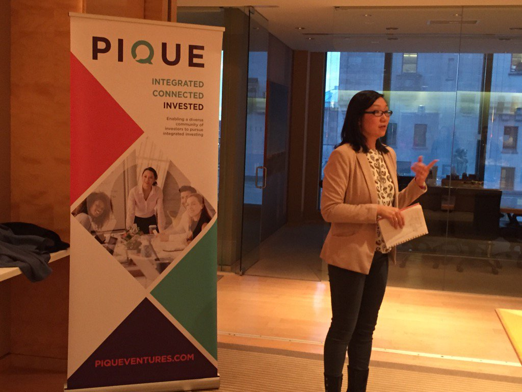. @BonnieOWong sharing the story of @Pique_V and the importance of and opportunity through #impactinvesting . <br>http://pic.twitter.com/VFuJEBtIz6