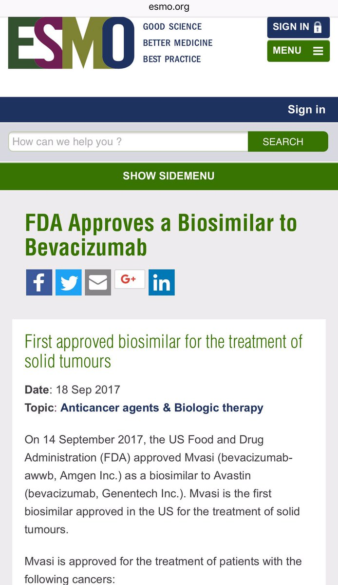 @myESMO great report on @US_FDA  approval of #Bevacizumab biosimilar for metastatic #ColorectalCancer #Cervical #Career<br>http://pic.twitter.com/LZnQBf3SzJ