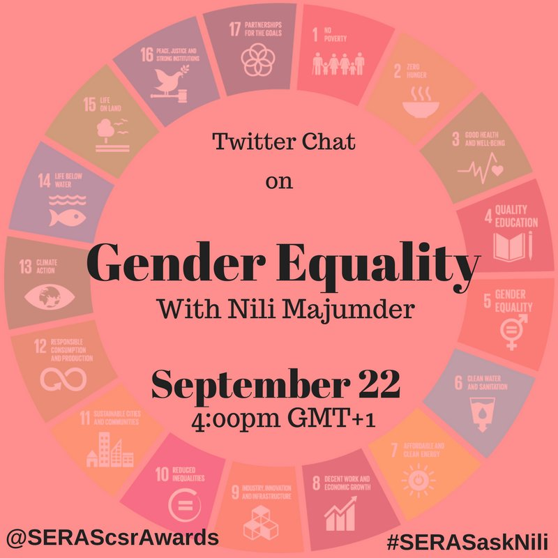 Tweet chat on #SDG5 #GenderEquality organised by @SERAScsrAwards please join.<br>http://pic.twitter.com/AkDVbiBjin