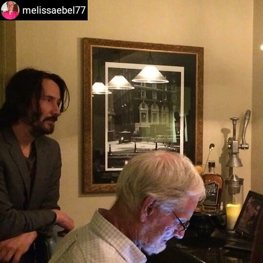 #Repost @melissaebel77  OMG! Standing at the bar and #KeanuReeves showed up to order a drink. He gave me a dirty look tho <br>http://pic.twitter.com/7GjgxVJJKT