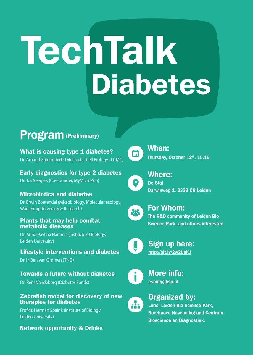 October 12 TechTalk #Diabetes with @AP_Haramis @RensVandeberg. Sign up here:  http:// bit.ly/2w2UgKJ  &nbsp;   @JDRFNL #diagnostics #zebrafish<br>http://pic.twitter.com/zIu7fRaiV9