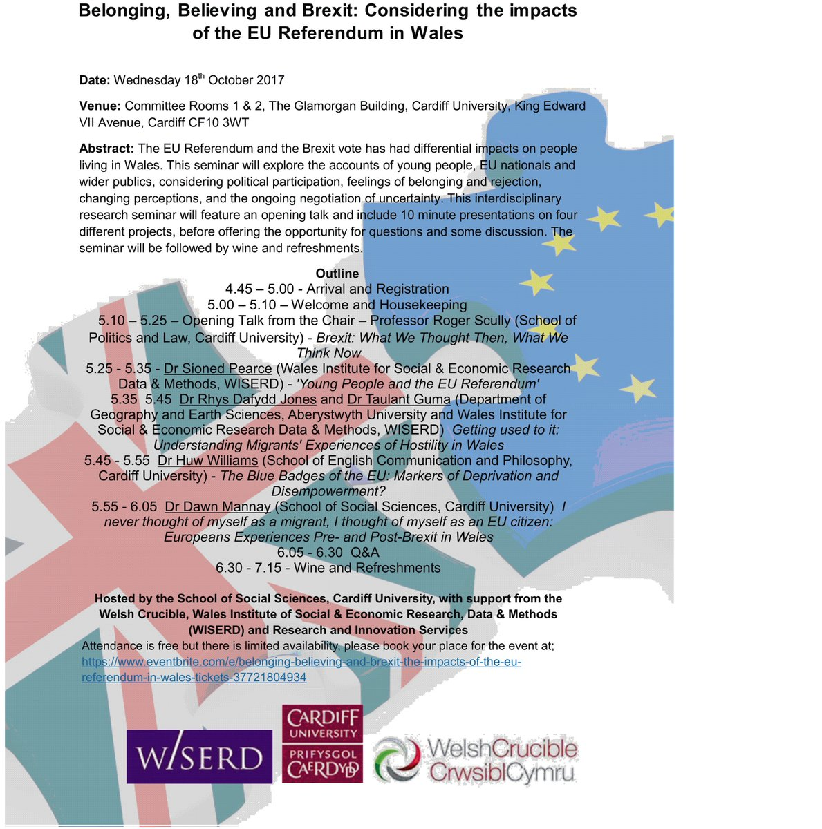 Belonging, Believing &amp; #Brexit: Considering the impacts of the #EURef in Wales, 18 Oct @cardiffuni – book your place  http:// bit.ly/2jJPMaf  &nbsp;  <br>http://pic.twitter.com/QszNDsPHDi