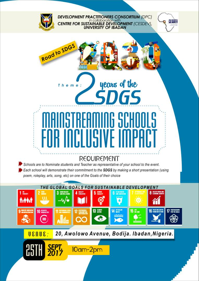On Monday 25th Sept 2017 , as we mark two years of the #SDGs , an initiative will be launched in Ibadan @cesdevui #act4sdgs #UNGA  #SDGs <br>http://pic.twitter.com/xSAAzoYzEC