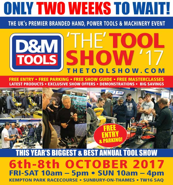 Only 2 weeks to go!  &#39;The&#39; Tool Show &#39;17 @kemptonparkrace 6-8th Oct.  http://www. thetoolshow.com  &nbsp;  . FREE ENTRY &amp; PARKING #woodworking <br>http://pic.twitter.com/FjqXmcDTZM