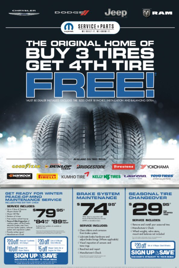 TIRE Sale!!! Buy 3, Get 4th FREE!  https:// goo.gl/cyWuFX  &nbsp;   #xtownyeg #yeg #mopar #edm #tiresale #winteriscoming #service #sale 15520-123 Ave<br>http://pic.twitter.com/Zox5Hwjbnu