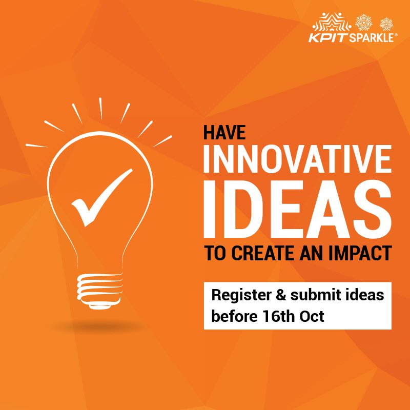 Create an impact with your #innovation register &amp; submit your #ideasthatimpact before 16th Oct. #KPITSparkle 2018  https:// goo.gl/DAk8Wk  &nbsp;  <br>http://pic.twitter.com/0TicAyAG0n
