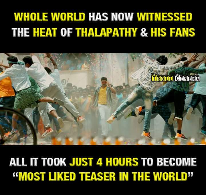 Massive new world record !!  #ThalapathyFans does it in style  #ThalapathyVijay @Atlee_dir @Hemarukmani1   WORLD RECORD MERSAL TEASER<br>http://pic.twitter.com/6YF4LvF1n5