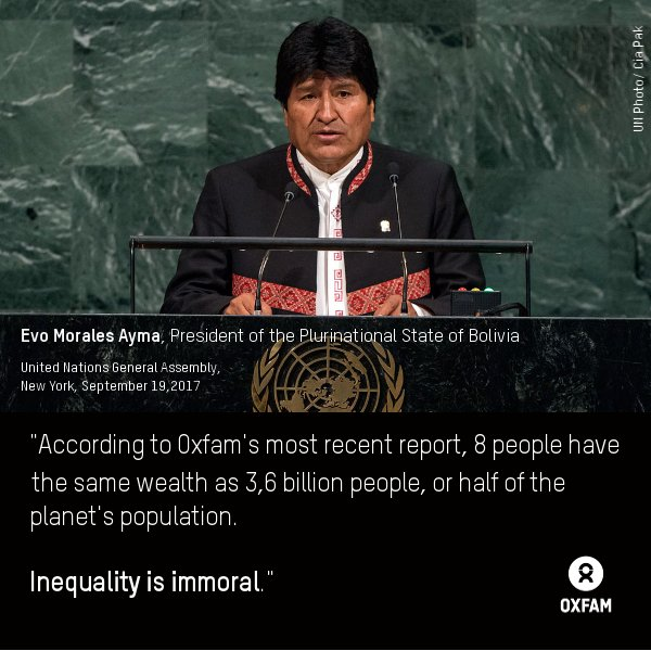 &quot;Inequality is immoral.&quot; Pres. Evo Morales Ayma of #Bolivia  #EvenItUp #FightInequality cc @Winnie_Byanyima  @DeproseM  @benphillips76<br>http://pic.twitter.com/9N4hGiPNdV