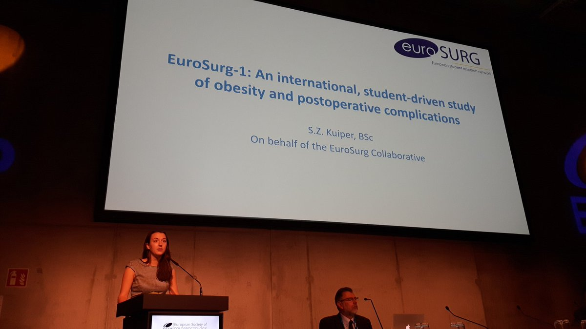 Sara Kuiper presenting EuroSurg-1 results at Free papers (students) session @EuroSurg @escp_tweets #colorectalsurgery #ESCP2017<br>http://pic.twitter.com/g5mTGiTzb1