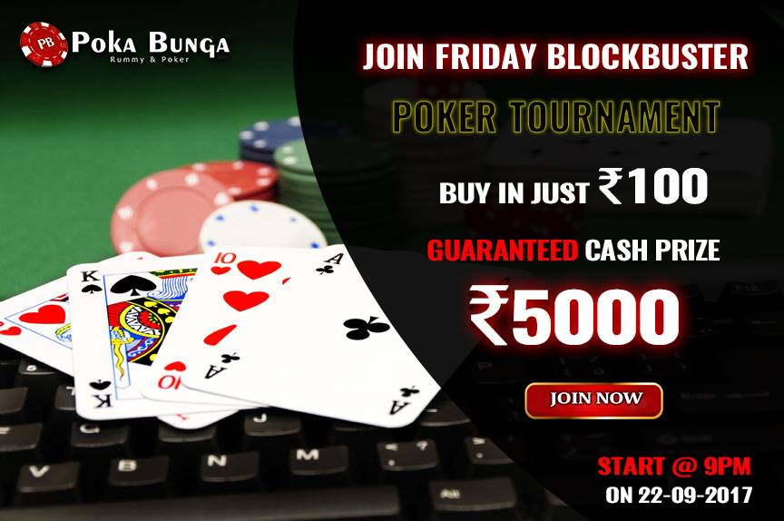 Hurry!!Join #Friday BlockBuster #Poker #Tournament. Buy in just Rs.100 guaranteed #cash #prise Rs,5000. https:// goo.gl/TWQyPt  &nbsp;  .<br>http://pic.twitter.com/25hJx0d1Bk