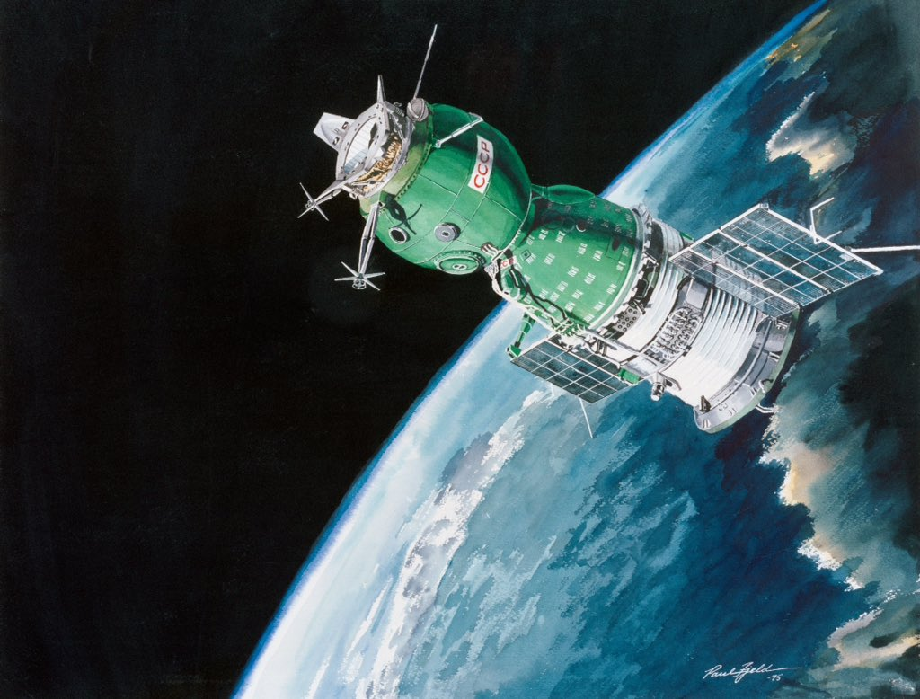 A Soviet spacecraft in Earth orbit during the Apollo-Soyuz mission, pictured in 1975 NASA concept art by  Paul Fjeld. #space #sciart <br>http://pic.twitter.com/LICSKtY1Xl