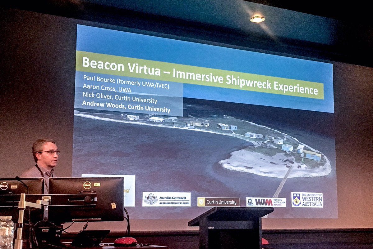 Andrew Woods of @CurtinHIVE on the #beaconvirtua #virtualreality #maritimearchaeology project #AIMA2017 @FlindersMAP  http:// museum.wa.gov.au/maritime-archa eology-db/beacon-island-visualisation &nbsp; … <br>http://pic.twitter.com/M0byi2MjoN