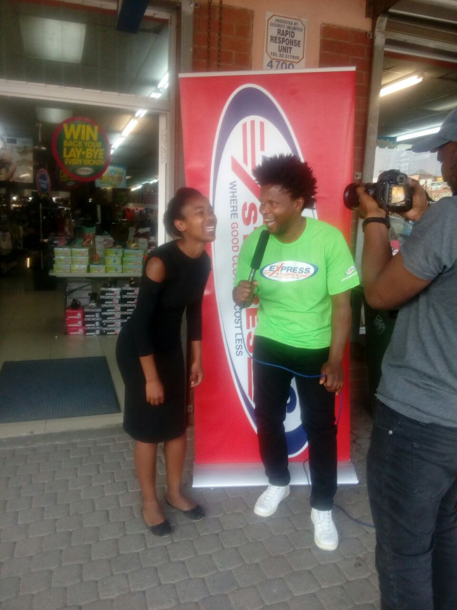 @DjDiboza shooting shout outs at @ExpressStoresSA - Sefika Mall #Lesotho yesterday for @HulaBazala Music Show on #LNBS<br>http://pic.twitter.com/gGoyDE88Sd