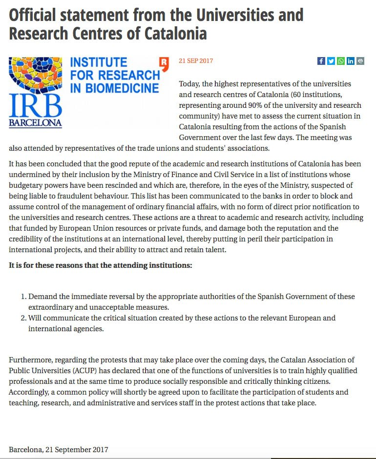 Official statement by the #Universities and #Research Centres of #Catalonia regarding the Spanish govt&#39;s actions  https:// goo.gl/ACcRov  &nbsp;  <br>http://pic.twitter.com/zMuJnhHwhL