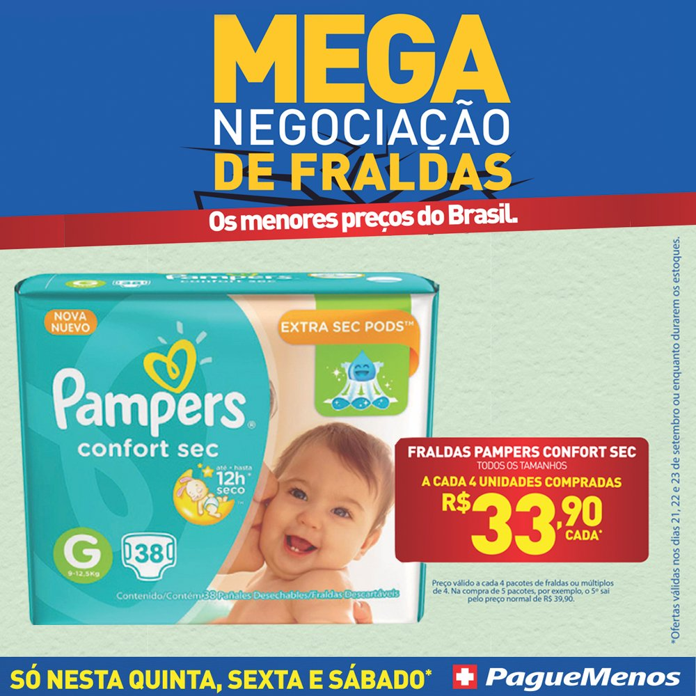 MegaOfertas de Fraldas Pague Menos! Compre @Pampers ou @Huggies por preços imperdíveis. (21, 22, 23 de set.) https://t.co/7PyrakuSX9 https://t.co/wv81Fk0rs8