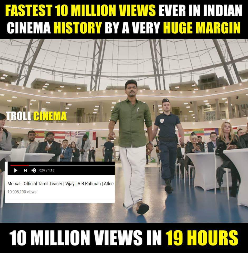 One Crore Views in a very short span. #ThalapathyVijay #IndianTeaserRecord  #Mersalteaser   WORLD RECORD MERSAL TEASER<br>http://pic.twitter.com/4Sn6gXXADZ