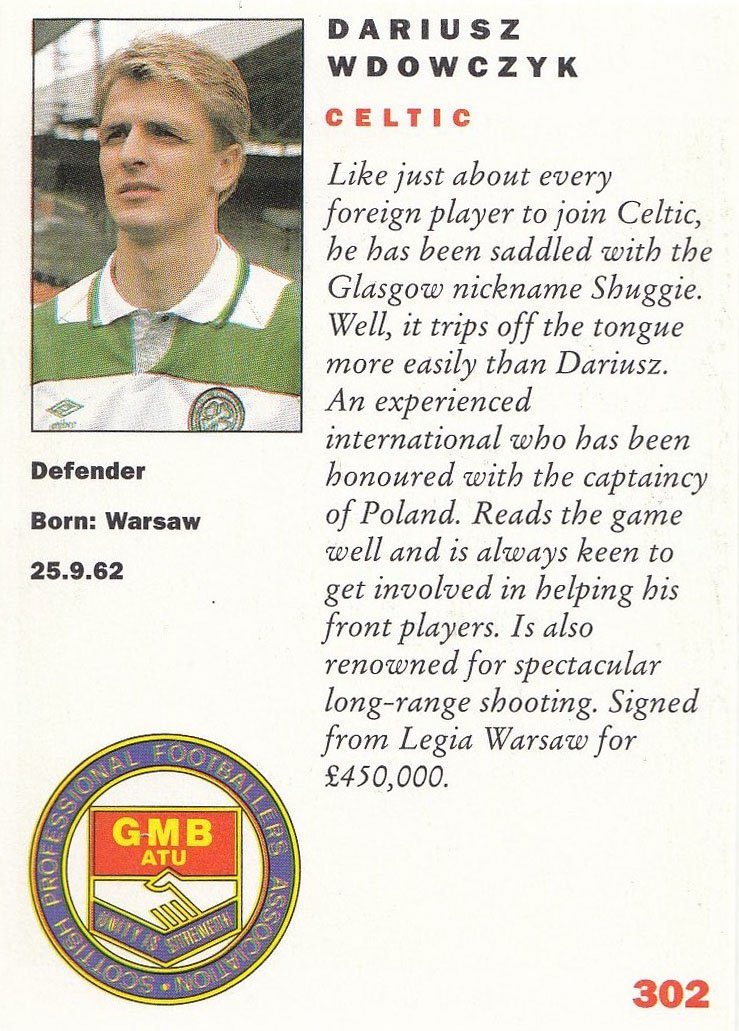 PANINI FOOTBALL 92-OFFICIAL PLAYERS COLLECTION-#302-CELTIC-DARIUSZ WDOWCZYK