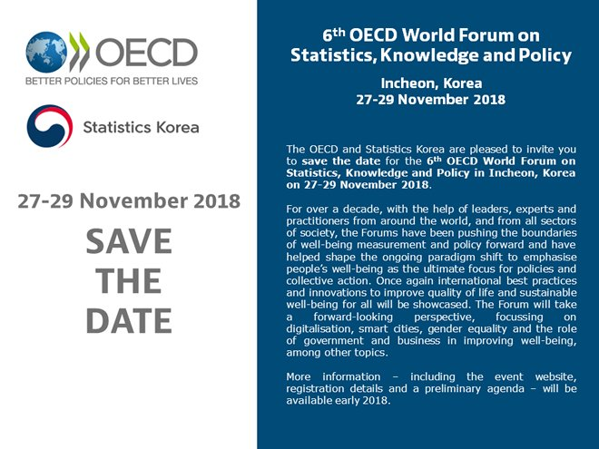 [Save the Date] 6th #OECD World Forum on Statistics, Knowledge &amp; Policy with Statistics #Korea | 27-29 Nov 2018 #OECD6WF #Wellbeing<br>http://pic.twitter.com/9V3cRyjpvs