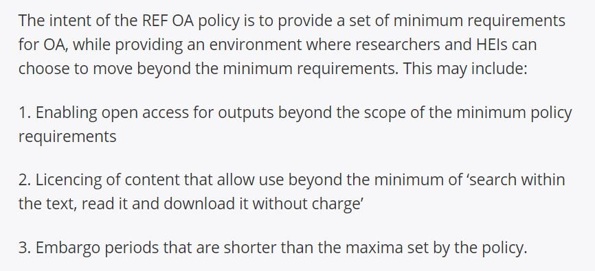 Revised @HEFCE FAQs on #openscience #openaccess #OA.  Note continued strong encouragement 2 go beyond  policy minima  http://www. hefce.ac.uk/rsrch/oa/FAQ/# general &nbsp; … <br>http://pic.twitter.com/hMS4H6Z4fj