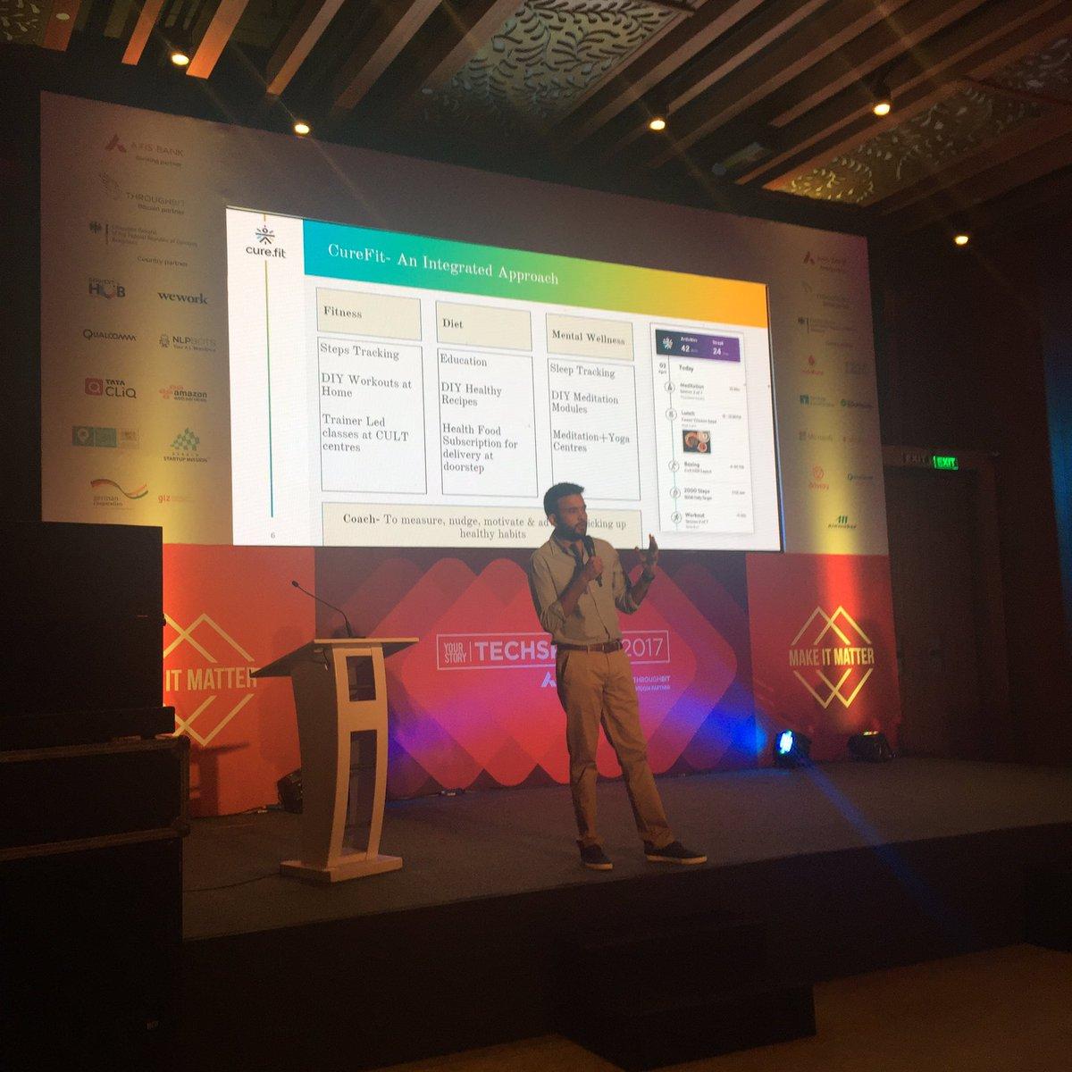 Indian #ehealth startup @BeCureFit is combining #fitness, #diet &amp; #mentalhealth. Both offline and online. @FTR4H #impressive #TSparks<br>http://pic.twitter.com/lusKGibAMD