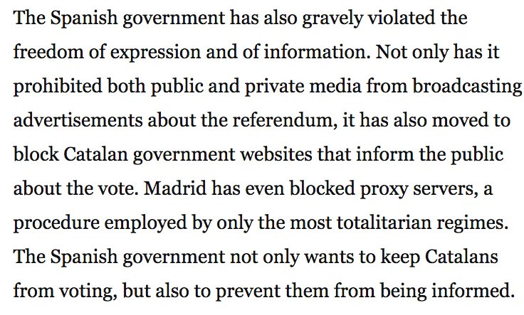 #Catalonia takes Spain's 'siege' of its Oct 1 vote to DC with article by its pres @KRLS in the Washington Post. #1o  https://t.co/Bma4hDvlge