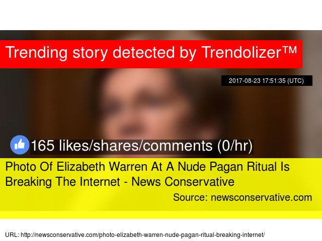Photo Of #ElizabethWarren At A Nude Pagan Ritual Is Breaking The Internet - News Conservative #hairdresser  http:// warren.trendolizer.com/2017/09/photo- of-elizabeth-warren-at-a-nude-pagan-ritual-is-breaking-the-internet---news-conservative.html &nbsp; … <br>http://pic.twitter.com/DXvWZNKCob