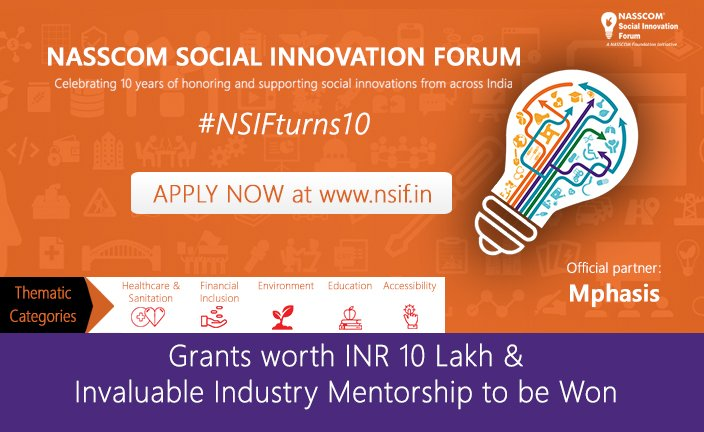 Applications open for the best #Socinns to WIN #grants &amp; #mentorship. #ApplyforNSIF at  http://www. nsif.in  &nbsp;   #NSIFlaunched! #NSIFturns10!<br>http://pic.twitter.com/88mFnTluMB