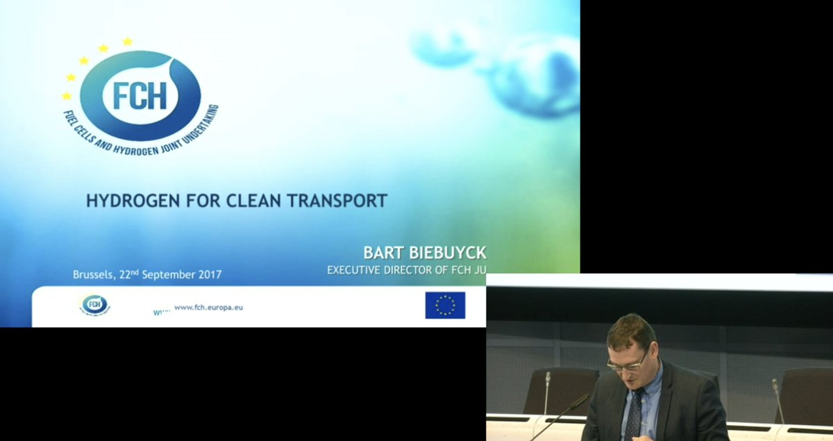Bart Biebuyck from the @fch_ju addressing the panel at #cleantransport17 and presenting the #fuelcell and #hydrogen joint undertaking <br>http://pic.twitter.com/pqeMhmeA5j