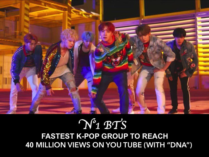 #BTS&#39;s #DNA MV hits 40 million views on You Tube in just 3 days &amp; 15 hrs, breaking record for fastest time ever for a K-Pop Group! <br>http://pic.twitter.com/VkUtz8UPRE