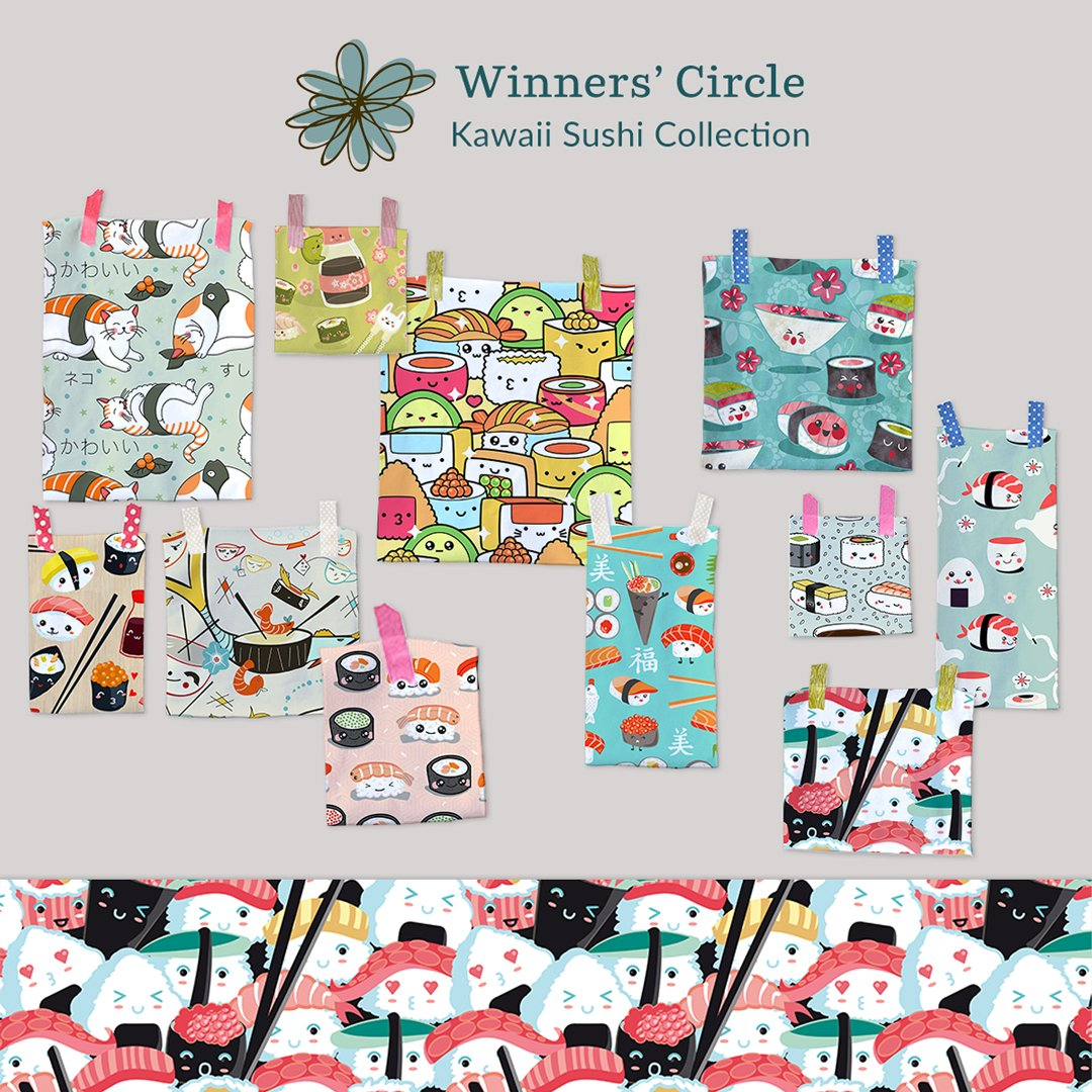 I'm in the Winners' Circle! What a wonderful #fabric #collection! Thank U #Spoonflower and other friends who voted, faved and commented &lt;3<br>http://pic.twitter.com/cxbxZIzRVT